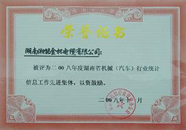 2008年度胡南省机械(汽车)行业统计信息工作先进集体.JPG