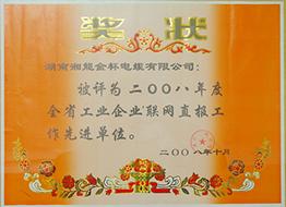 2008年度全省工业企业联网直报工作先进单位.JPG