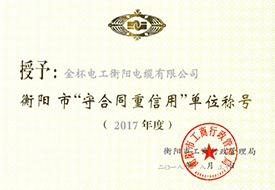 2018年度衡阳市守合同重信用证书(2017年).jpg